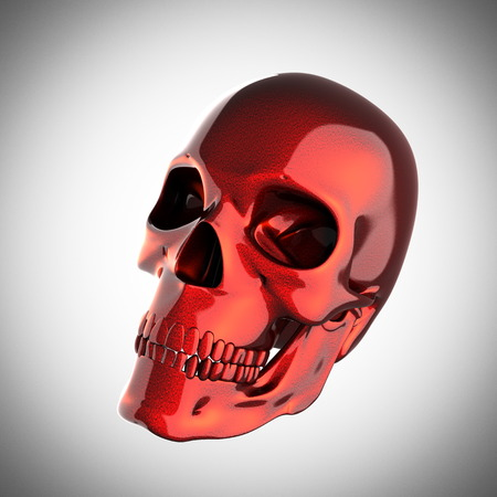 metal skull on gray background photo