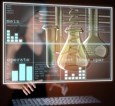 reagents: Laboratory glassware on hologram Stock Photo