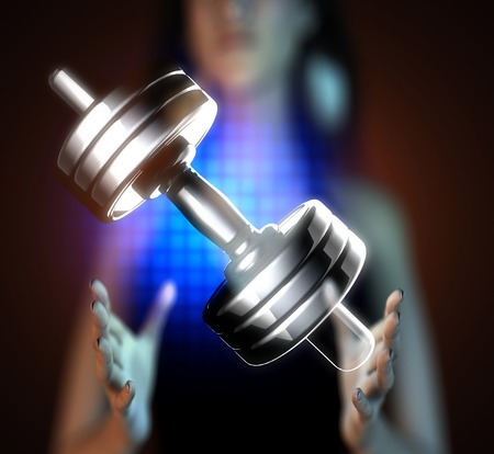 Metal dumbbell on hologram photo