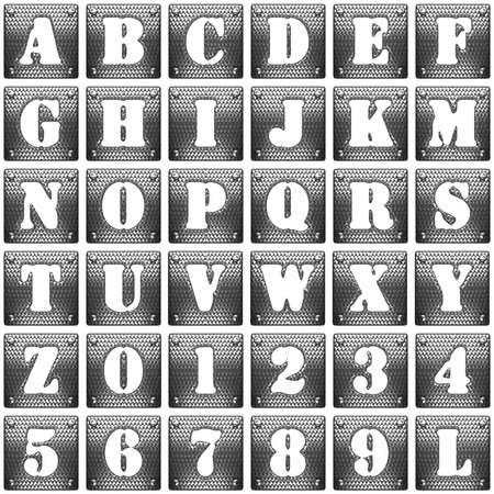metal grid: Metal  alphabet set on white background
