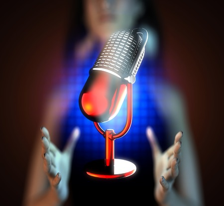 Retro microphone on hologram photo