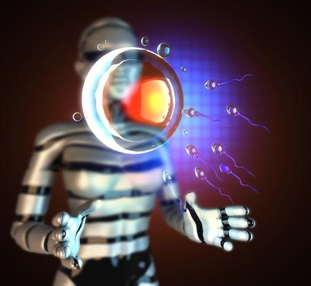 sperm and egg cell on hologram photo