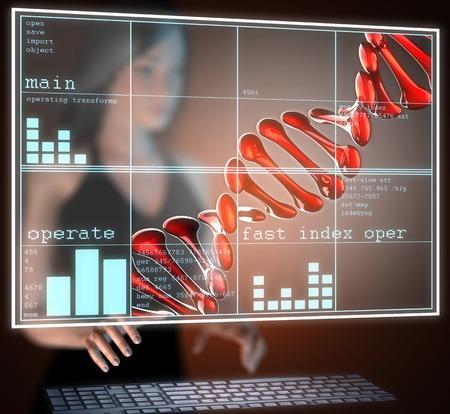 adenine: DNA model on hologram