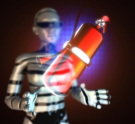 metallic fire extinguisher on hologram Stock Photo