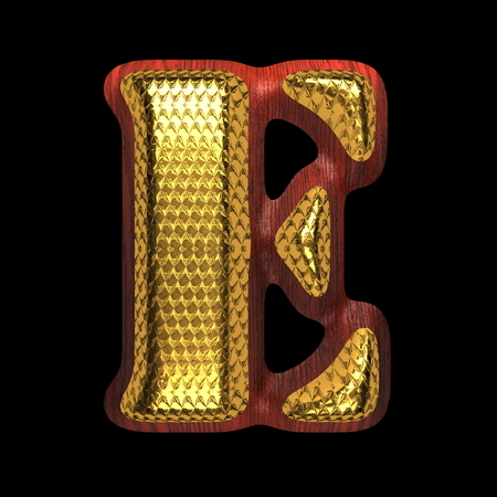 golden alphabet with red wood photo