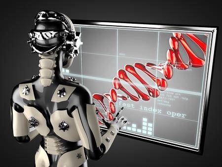 manipulating: cyborg woman manipulating hologram display Stock Photo