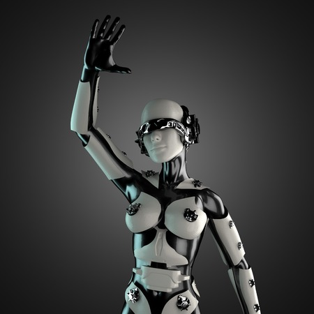 woman cyborg of steel and white plastic photo