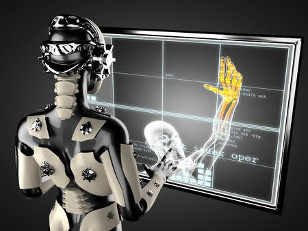future medicine: cyborg woman manipulating hologram displey