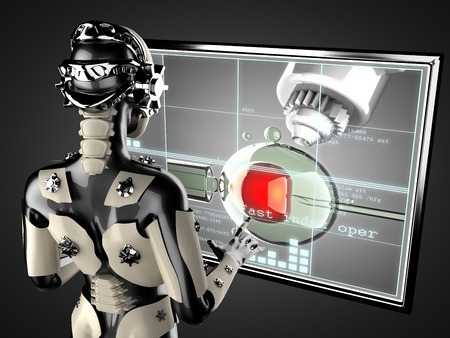 manipulating: cyborg woman manipulating hologram displey