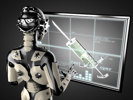 cyborg woman manipulating hologram displey photo