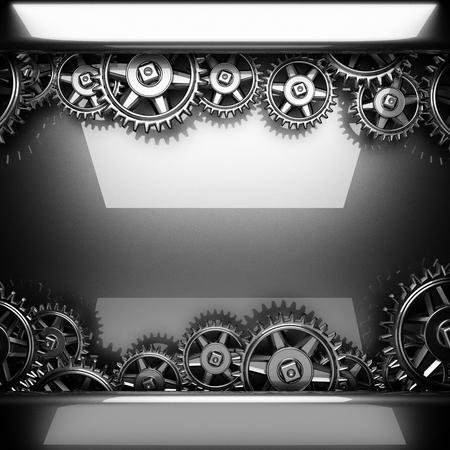 rack wheel: metal polished background with cogwheel gears