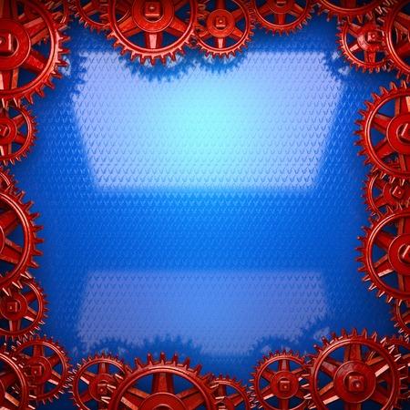 rack wheel: blue metal background with red cogwheel gears