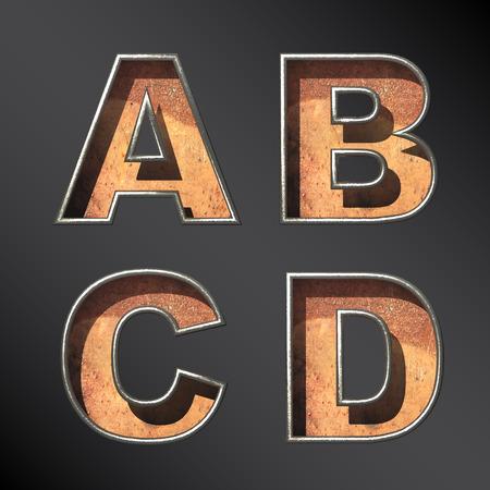 Vector old metal alphabet letters set