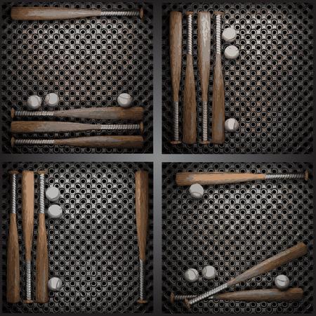 vector baseball on metal wall collection Vector