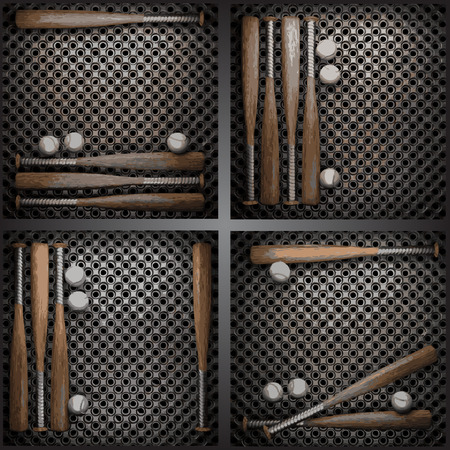 chrome base: vettore baseball sulla raccolta parete metallica