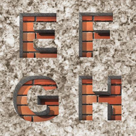 Vector brick alphabet letters set photo