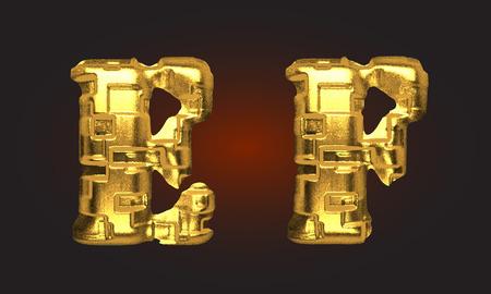 vector golden alphabet letters set Vector