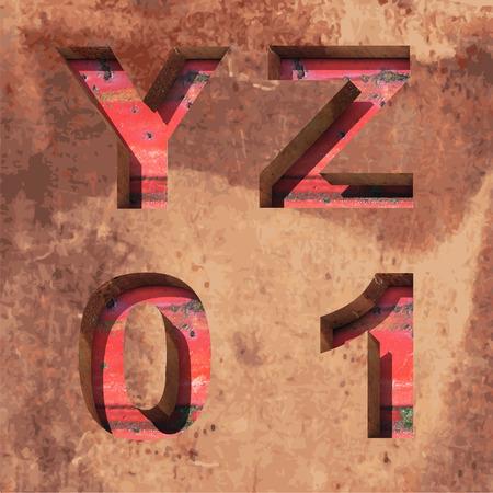 Vector rusted metal alphabet letters set Illustration