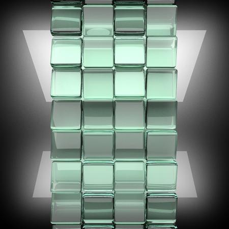 polished: polished metal background with glass