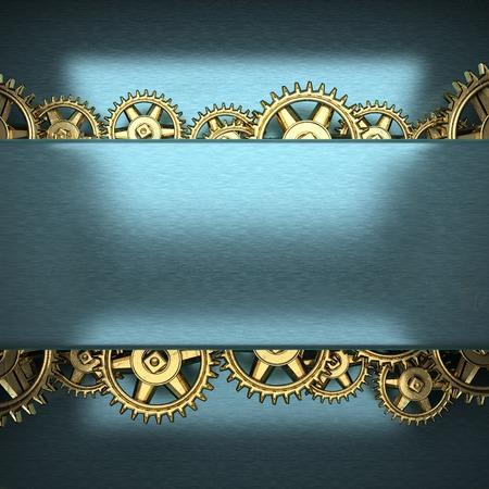 rack wheel: blue metal background with cogwheel gears