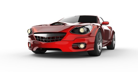 luxury brandless red sport car at white background photo