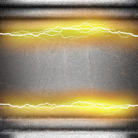 rayo electrico: fondo de metal con un rayo el�ctrico Foto de archivo