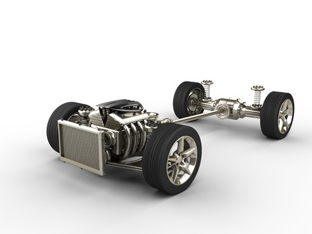 Car chassis with engine Archivio Fotografico