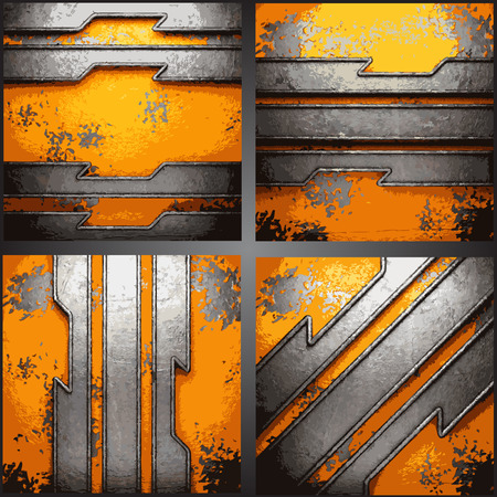 rusty metal: Vector metal background set