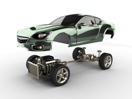Car chassis with engine of luxury brandless sportcar