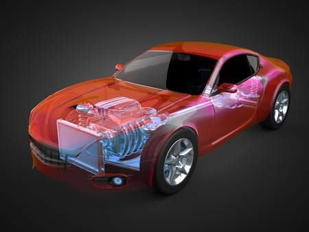 transparent car concept with visible engine and transmission Фото со стока - 33012150