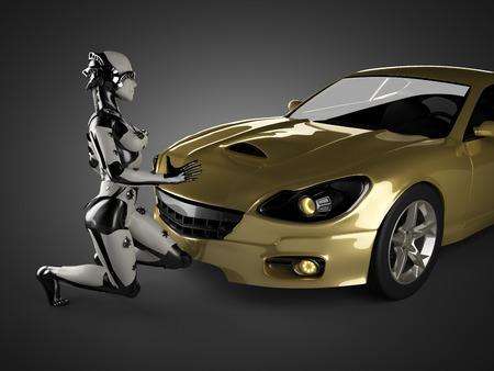 luxury brandless sport car and woman robot photo