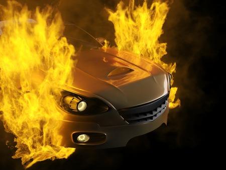 burning brandless sport car photo