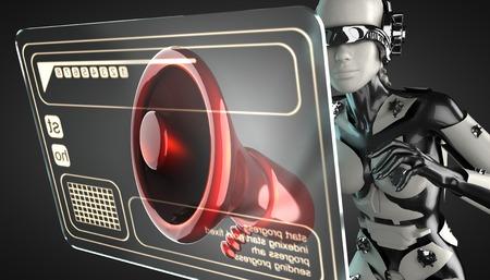 cyborg woman manipulating hologram display photo