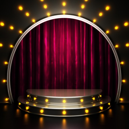 telon de teatro: etapa cortina roja con las luces