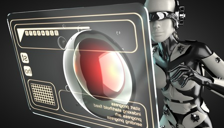 cyborg woman manipulating hologram display photo