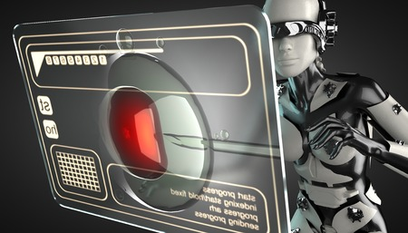 cyborg: cyborg woman manipulating hologram display Stock Photo