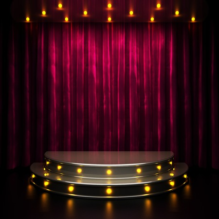 red curtain stage with lights photo
