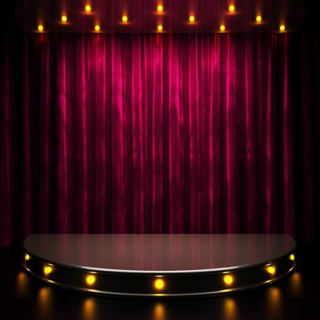 ライトが付いて赤いカーテン ステージ 写真素材