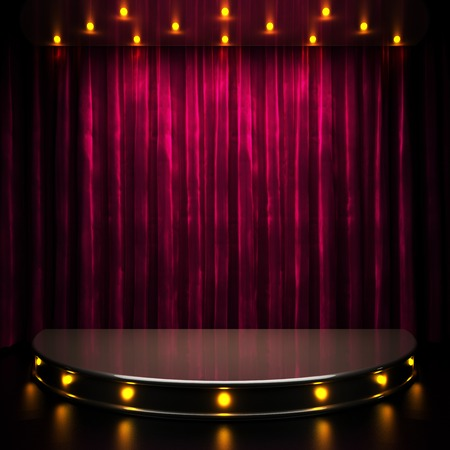 shows: red curtain stage with lights