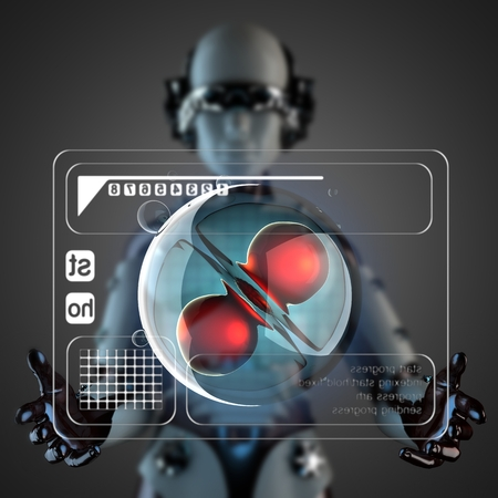 zygocyte: robot woman manipulatihg hologram display