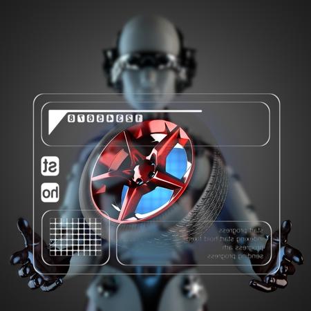 robot woman manipulatihg hologram display photo