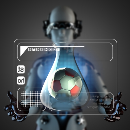 manipulating: robot woman manipulating hologram display
