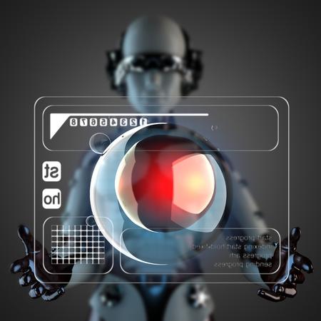 zygocyte: robot woman manipulating hologram display