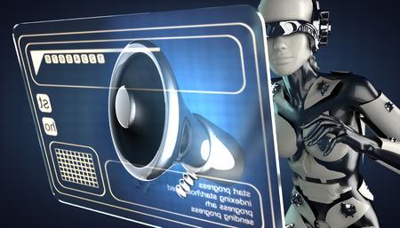 organise: robot woman manipulatihg hologram display