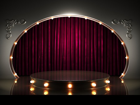 Rote Vorhang der Bühne mit Lichtern Standard-Bild - 35363265