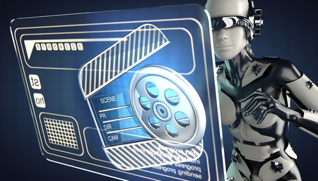 robot woman: robot woman manipulatihg hologram display