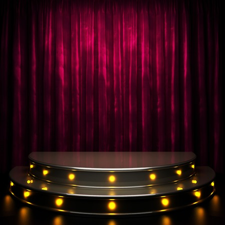 red curtain stage with lights