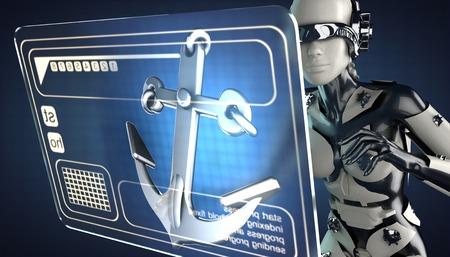 hologram: robot woman and hologram display