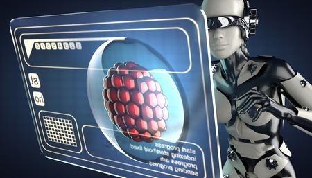 zygocyte: robot woman and hologram display