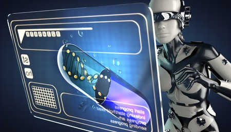genetically modified organisms: robot woman and hologram display